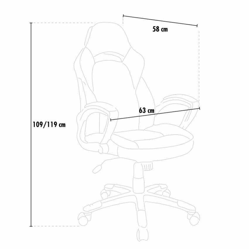 SU002RAC - Chaise de bureau sportive fauteuil gamer ergonomique simili cuir EVOLUTION - crema
