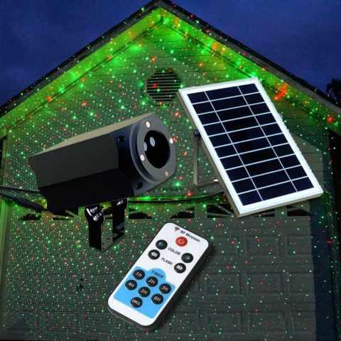 LL019COL - Projecteur LED Laser façade CHRISTMAS avec panneau solaire et télécommande - azzurro