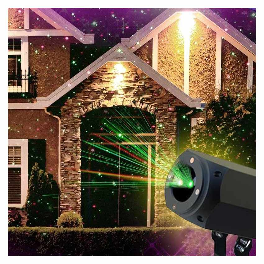 Projecteur led laser fa ade christmas avec panneau solaire et t l commande for Spot de noel pour facade