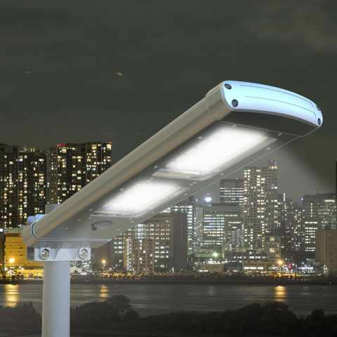 LS049LED - Lampadaire pour poteaux d' exterieur réverbère à energie solaire 48 super LED rue route jardins extérieurs PA