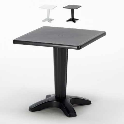 S6933B - Table bar Grand Soleil  ZAVOR cafè bar exterieur carré polypropylene jardin 70x70 - marrone
