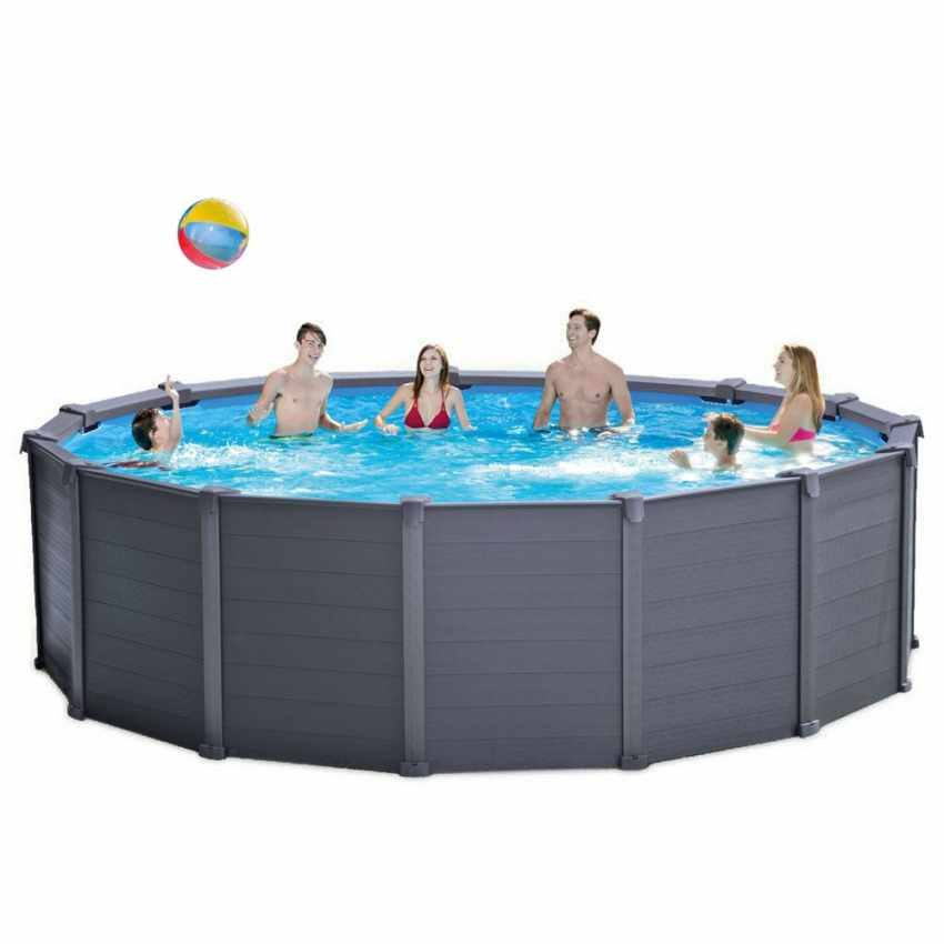piscine hors sol graphite intex 26382 ex 28382 ronde 478x124. Black Bedroom Furniture Sets. Home Design Ideas