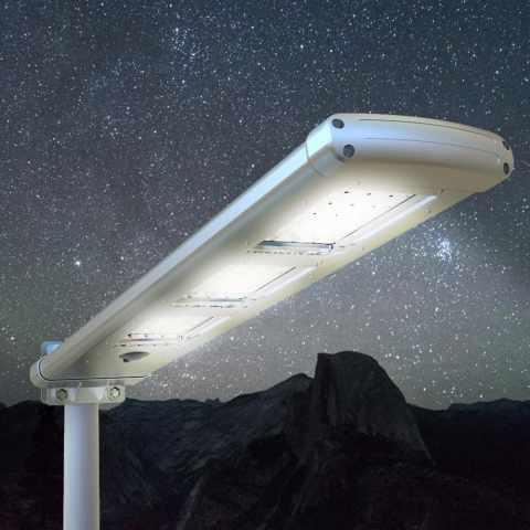 LS303LED - Lampadaire TRACKLIGHT 72 Led 3000 Lumen panneau solaire parking rue - scontato