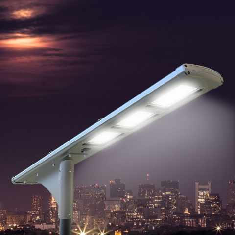LS500LED - Lampadaire solaire FULLMOON 72 Super Led 5000 Lumen pour les routes et stationnement - crema