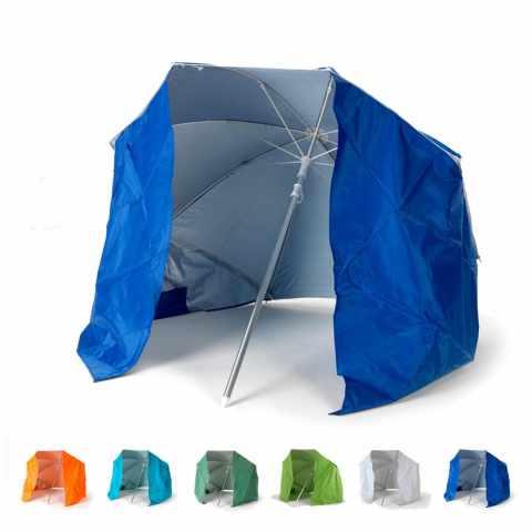 PI160UVA - Parasol de plage pliable portable leger aluminium tente 160 cm  PIUMA - azzurro