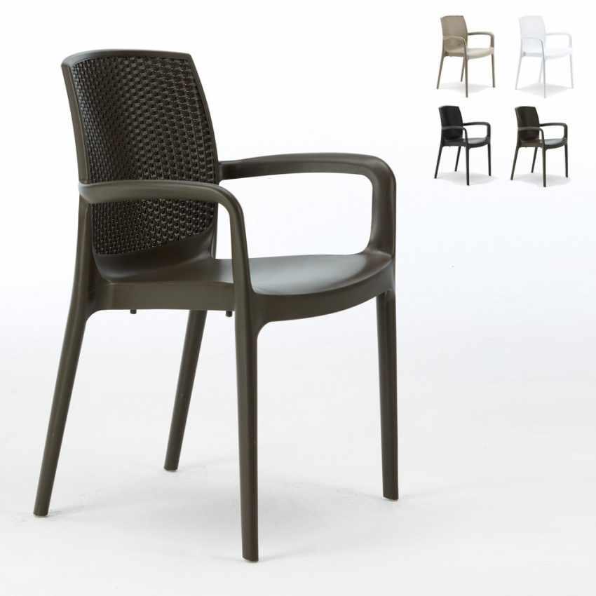 s6618j18pz chaises dextrieur accoudoirs polyrattan boheme grand soleil offre 18 pcs caf - Chaise Exterieur