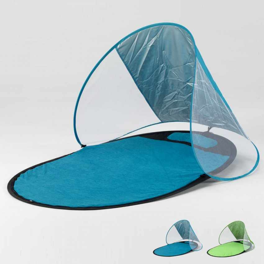 SS151UVA - Serviette de plage avec parasol antiUV antivent antisable SEMPRESTESO - marrone