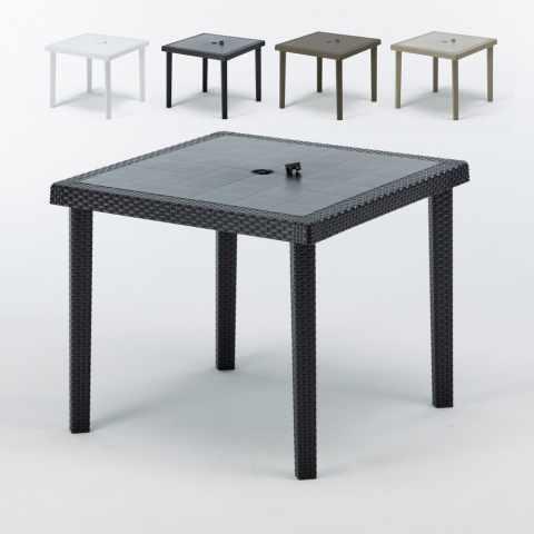 S709012PZ - Tables bar en Poly rotin carrées 90x90 Grand Soleil BOHEME 12 pcs - promozione