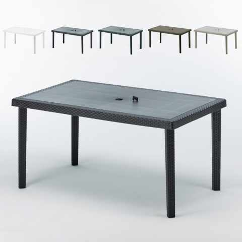 S7050J12PZ - Table rectangulaire en polyrattan bar cafè bistrot hotel 150x90 stock 12 pezzi - beige