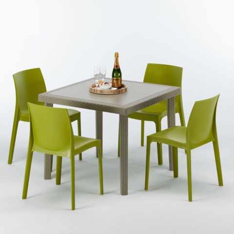 S7090SETJ4PBIJ - Table carrée beige + 4 chaises colorées Poly rotin synthétique ELEGANCE - marrone