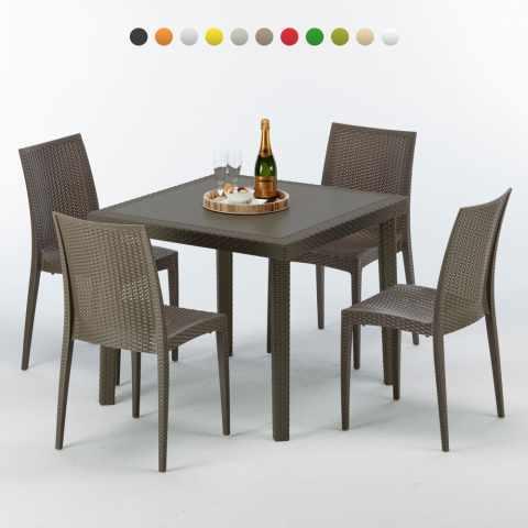 S7090SETMK4PBIJ - Table carrée et 4 chaises colorées Poly rotin resine 90x90 marron - arancione