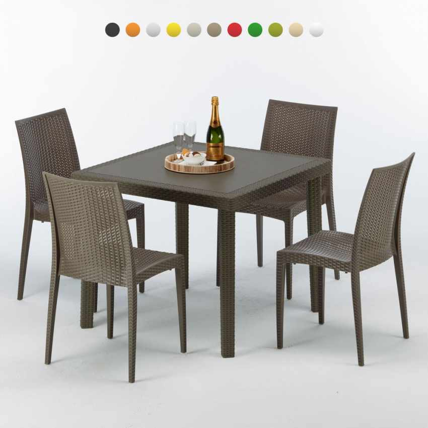 table carr e et 4 chaises color es poly rotin resine 90x90 marron. Black Bedroom Furniture Sets. Home Design Ideas
