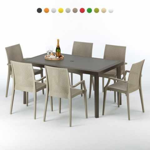 S7050SETMK6 - Table rectangulaire 4 chaises Poly rotin resine 90x90 marron - grigio