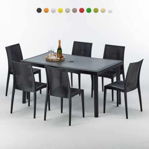 S7050SETA6 - Table rectangulaire et 6 chaises Poly rotin colorées 150x90 noir - beige