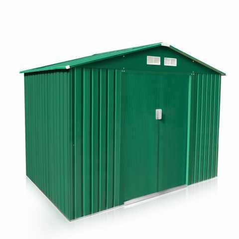 CL257LAM - Abri de jardin box metal vert rangement outils Cabane metal galvanisé LARGE - beige