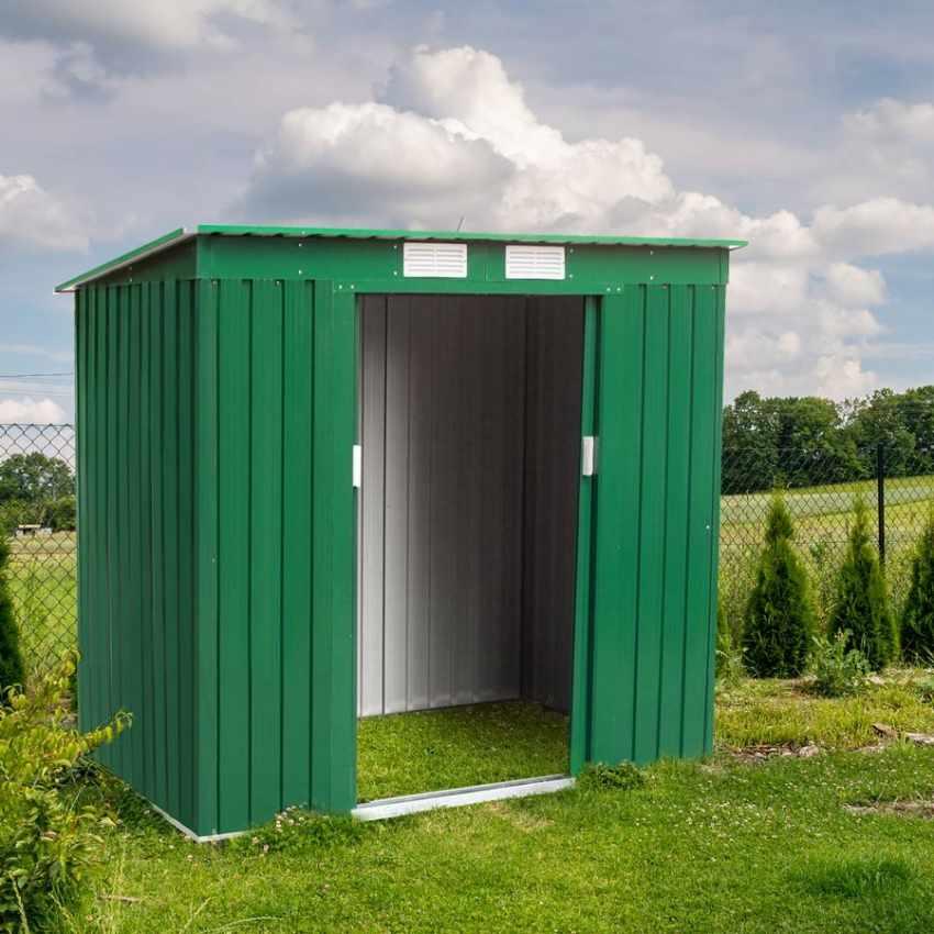 abri de jardin cabanon de rangement en m tal cabane galvanis verte outils medium. Black Bedroom Furniture Sets. Home Design Ideas