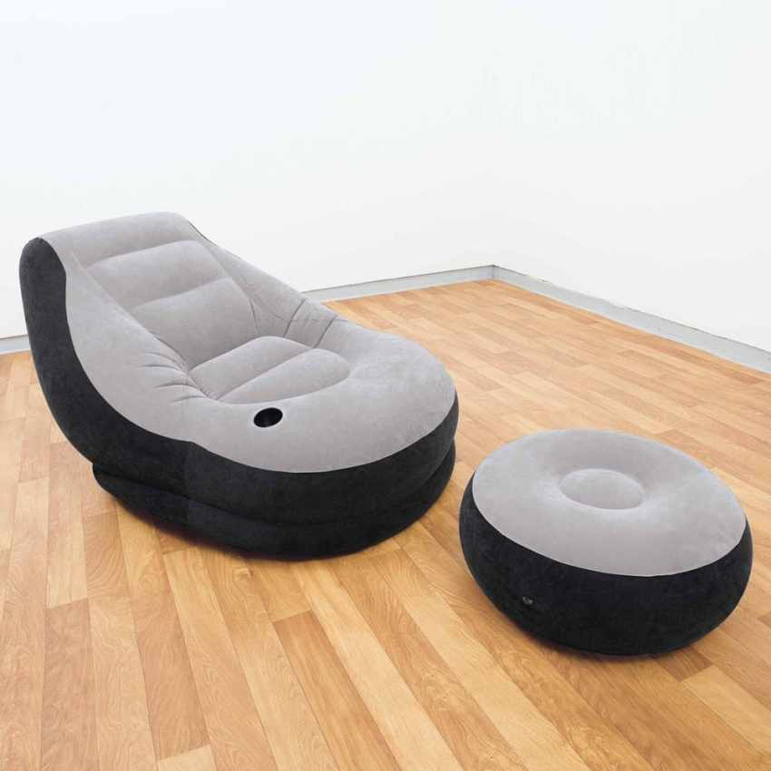 fauteuil pouf gonflable repose pieds transportable lounge intex 68564. Black Bedroom Furniture Sets. Home Design Ideas