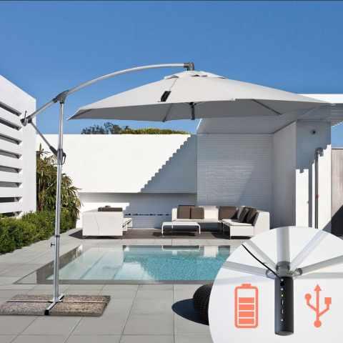 GA300USB - Parasol de jardin 3x3 bras avec usb chargeur de panneau solaire POWER - fronte