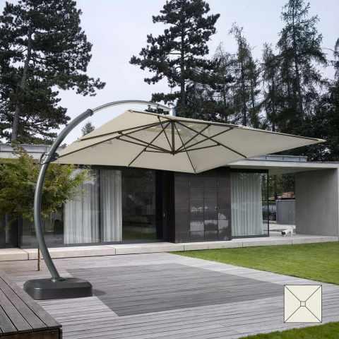 CO350POL - Parasol grande taille jardin de 3,5 mètres carré bras en aluminium COPENAGHEN - colorato