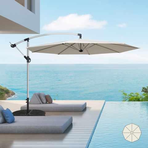 GA300UVA - Parasol de jardin 3 mètres à bras décentralisée aluminium octogonal bar et hôtel FAN - particolare