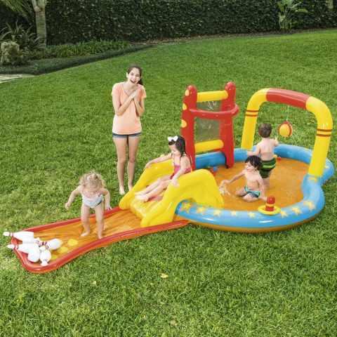 53068 - Piscine Gonflable pour Enfants Bestway 53068 avec Jeux Cibles Toboggan Quilles - arancione