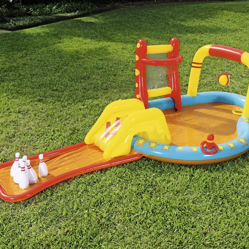 Piscine Hors Sol Avec Toboggan piscine gonflable pour enfants bestway 53068 avec jeux cibles toboggan  quilles