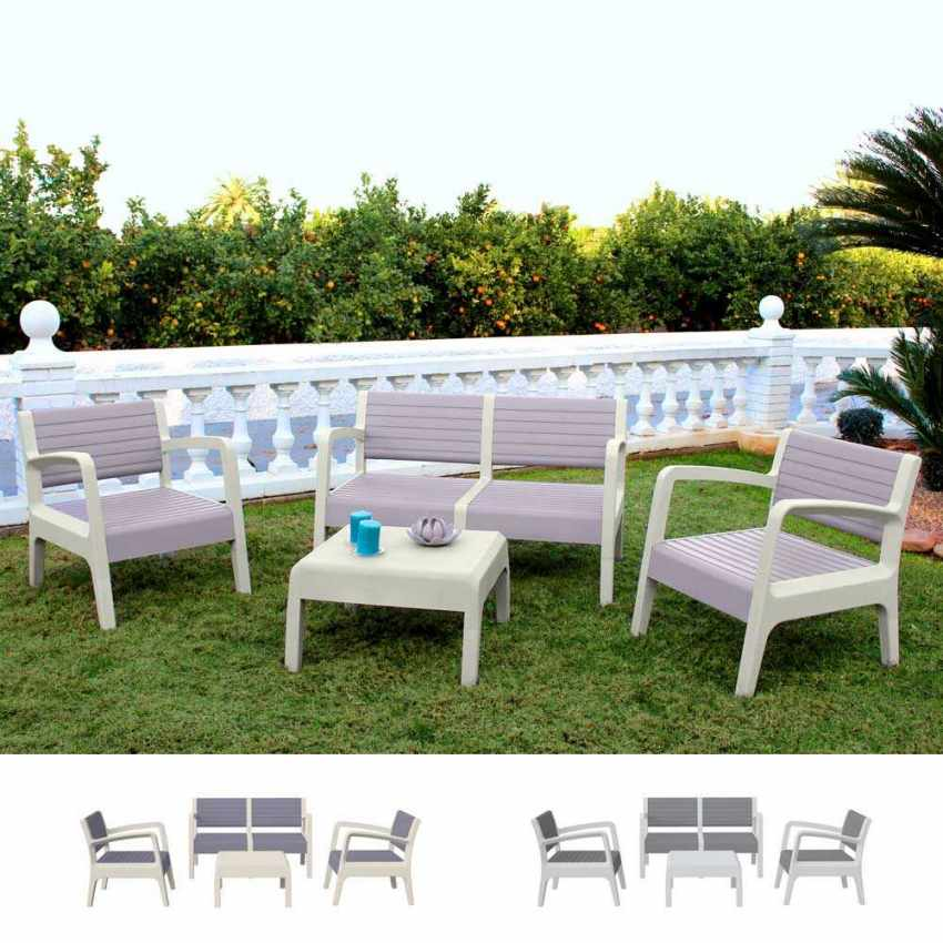 salon de jardin en r sine exterieur bar table coussins caf dossier a lattes 4 places. Black Bedroom Furniture Sets. Home Design Ideas