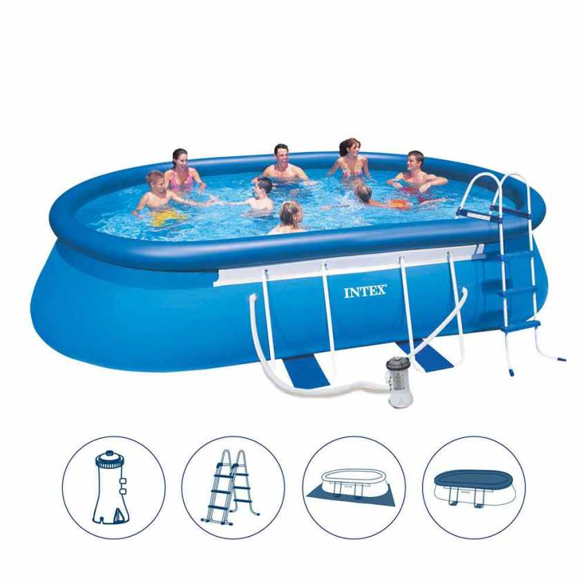 piscine hors sol autoportante intex 26192 ex 28192 oval. Black Bedroom Furniture Sets. Home Design Ideas
