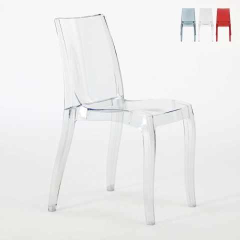 S6326TR - Chaise salle à manger bar transparent empilable CRISTAL LIGHT polycarbonate Grand Soleil Design - verde