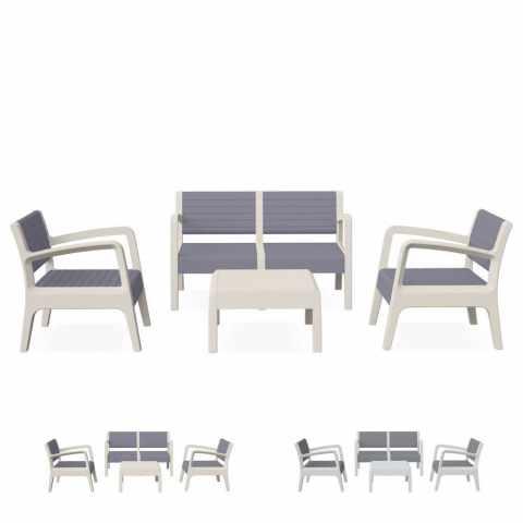 55258 - Salon de jardin en résine exterieur cafè bar table coussins dossier a lattes 4 places - colorato