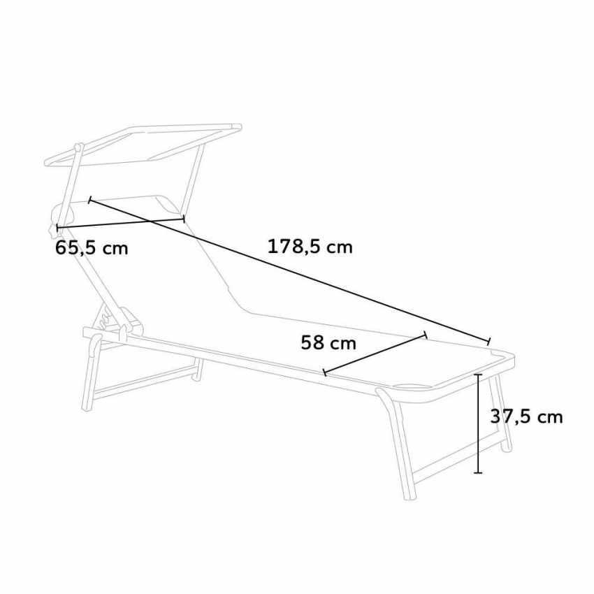 NE800TEX4PZ - Set 4 Bains De Soleil En Aluminium Pour La Plage Avec Parasol Réglable NETTUNO - fronte