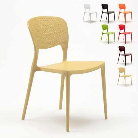 SG689PP - Chaise cuisine bar café polypropylene emplilable interiors exteriors GARDEN GIULIETTA - beige