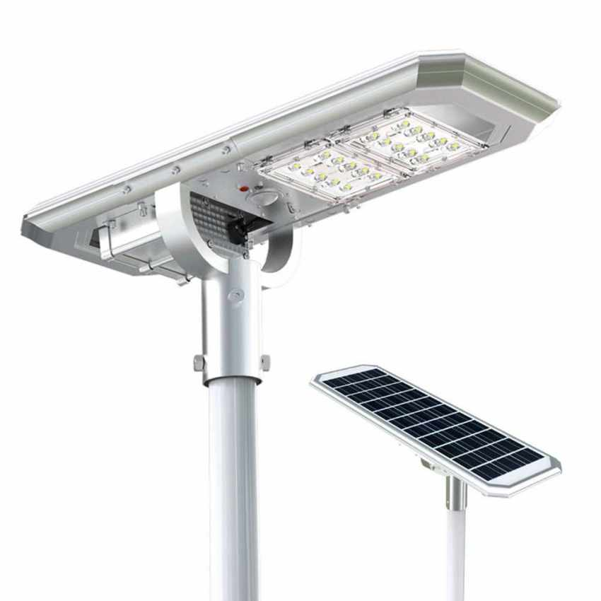 Lampadaire LED à Énergie Solaire avec Panneau Solaire et Capteurs pour la Route, Place, Stationnements ATLAS - esterno