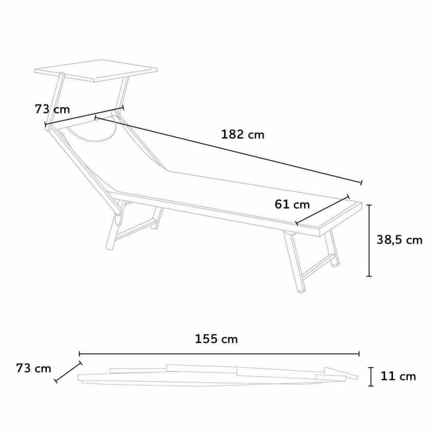 SA800TEX20PZ - Bain de soleil chaises longue transats Lits de plage piscine aluminium jardin SANTORINI 20 pcs - giallo