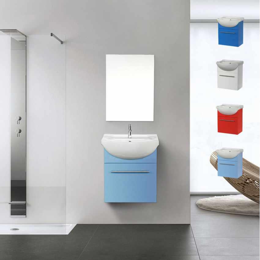 Set Déco Salle de Bain Complet avec Miroir Placard Évier en Céramique Laquée - interno