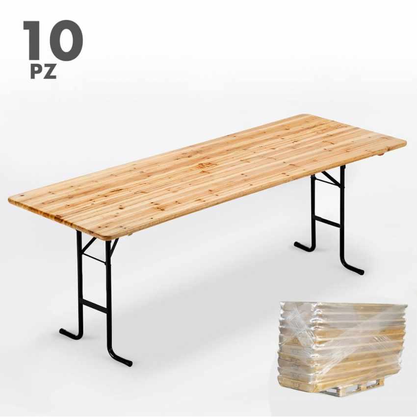 Table de brasserie pour fêtes lieux publics bancs en bois  220x80 - immagine