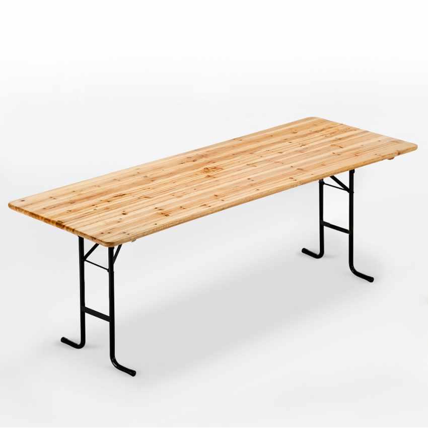 Table de brasserie pour fêtes lieux publics bancs en bois  220x80 - dettaglio