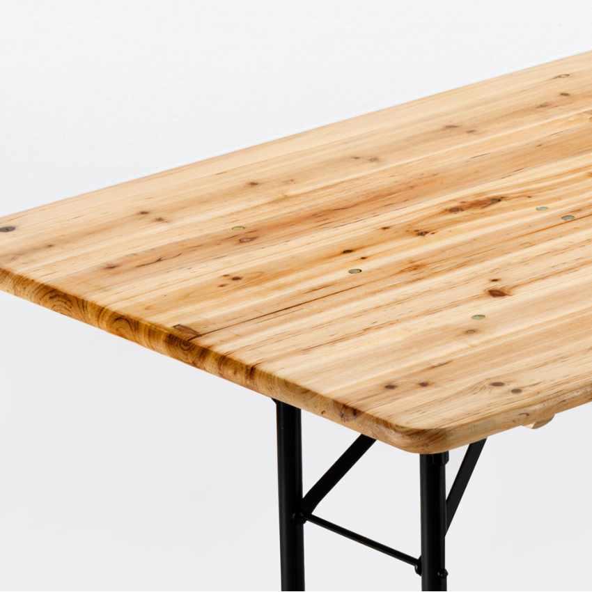 Table de brasserie pour fêtes lieux publics bancs en bois  220x80 - migliore