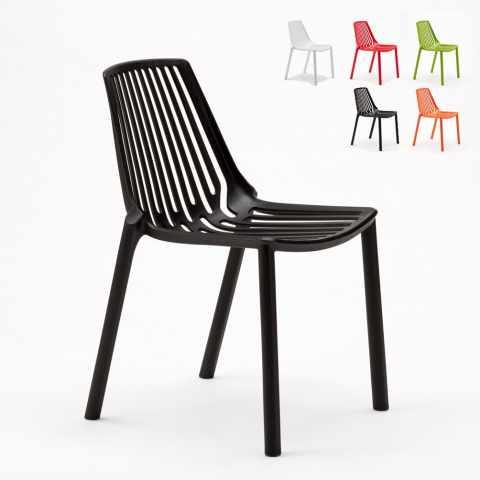 SL677PP - Chaise internes et externes bar café restaurant et jardin empilable en polypropylène  Design LINE - blu