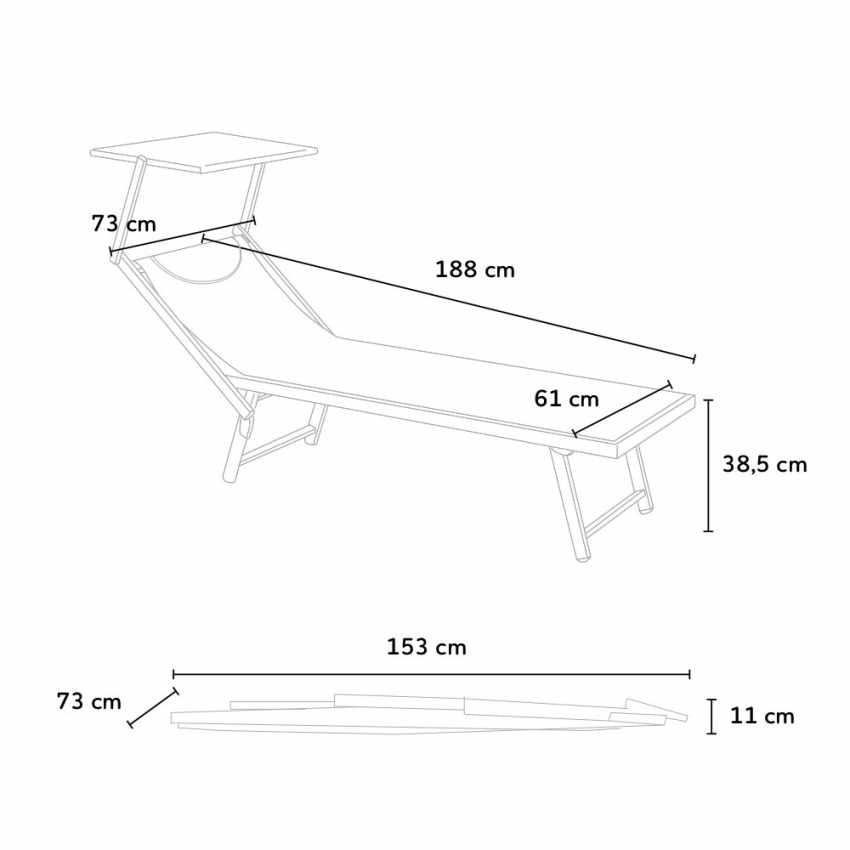 SA800TEXL - Bain de soleil transat piscine lit de plage aluminium SANTORINI Limited Edition - trasparente