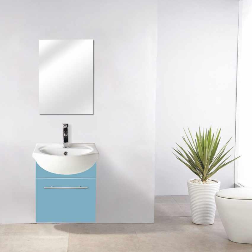 Set Déco Salle de Bain Complet avec Miroir Placard Évier en Céramique Laquée - esterno