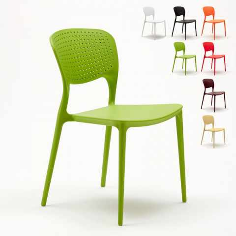SG689PPM20PZ - Lot de 20 chaises en polypropylène colorées empilables bar  restaurant  glaçier GARDEN GIULIETTA - strisc
