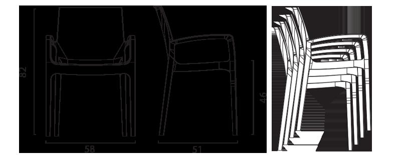 Chaise Cream Grand Soleil avec accoudoirs