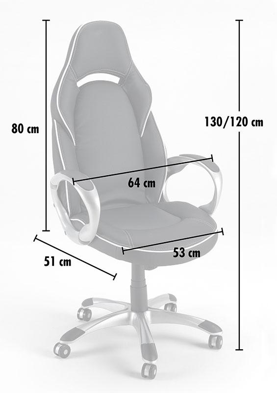 Chaise de bureau sport fauteuil gamer ergonomique simili cuir CLASSIC